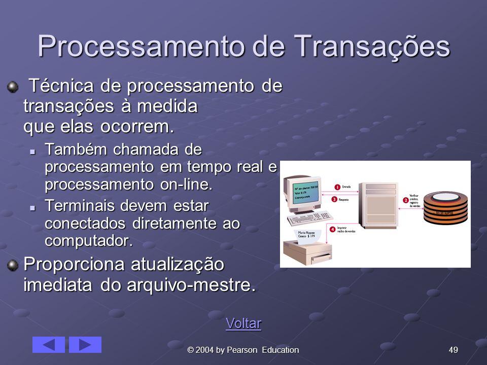 49© 2004 by Pearson Education Processamento de Transações Técnica de processamento de transações à medida que elas ocorrem. Técnica de processamento d