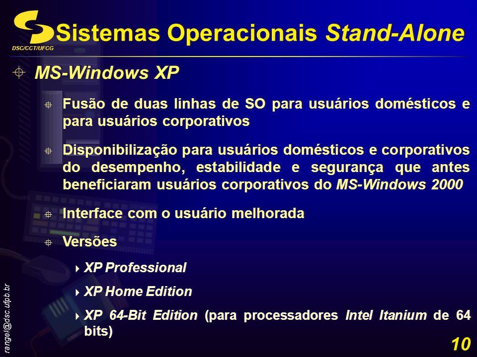 DSC/CCT/UFCG rangel@dsc.ufpb.br 10 Sistemas Operacionais Stand-Alone MS-Windows XP Fusão de duas linhas de SO para usuários domésticos e para usuários