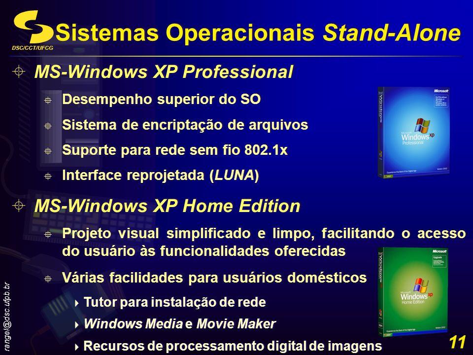 DSC/CCT/UFCG rangel@dsc.ufpb.br 11 Sistemas Operacionais Stand-Alone MS-Windows XP Professional Desempenho superior do SO Sistema de encriptação de ar