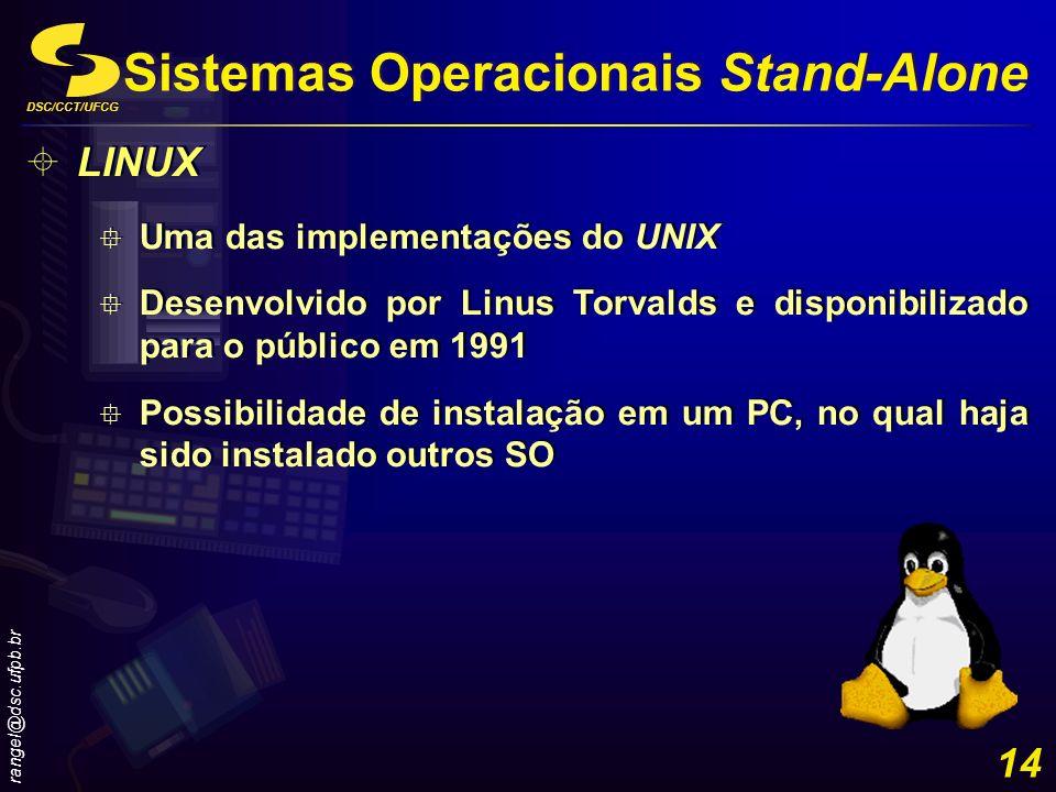DSC/CCT/UFCG rangel@dsc.ufpb.br 14 LINUX Uma das implementações do UNIX Desenvolvido por Linus Torvalds e disponibilizado para o público em 1991 Possi