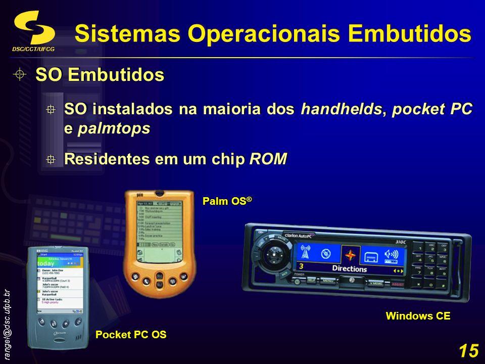 DSC/CCT/UFCG rangel@dsc.ufpb.br 15 SO Embutidos SO instalados na maioria dos handhelds, pocket PC e palmtops Residentes em um chip ROM SO Embutidos SO