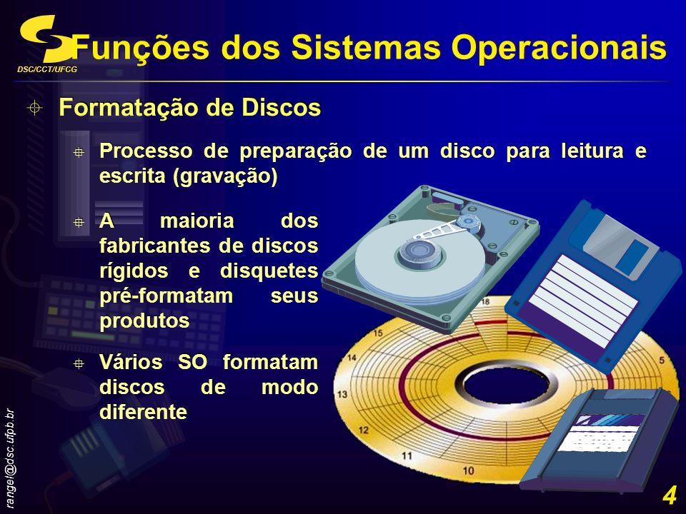 DSC/CCT/UFCG rangel@dsc.ufpb.br 4 Funções dos Sistemas Operacionais Formatação de Discos Processo de preparação de um disco para leitura e escrita (gr