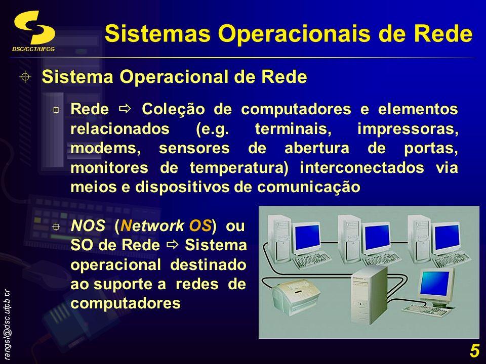 DSC/CCT/UFCG rangel@dsc.ufpb.br 5 Sistema Operacional de Rede Rede Coleção de computadores e elementos relacionados (e.g. terminais, impressoras, mode