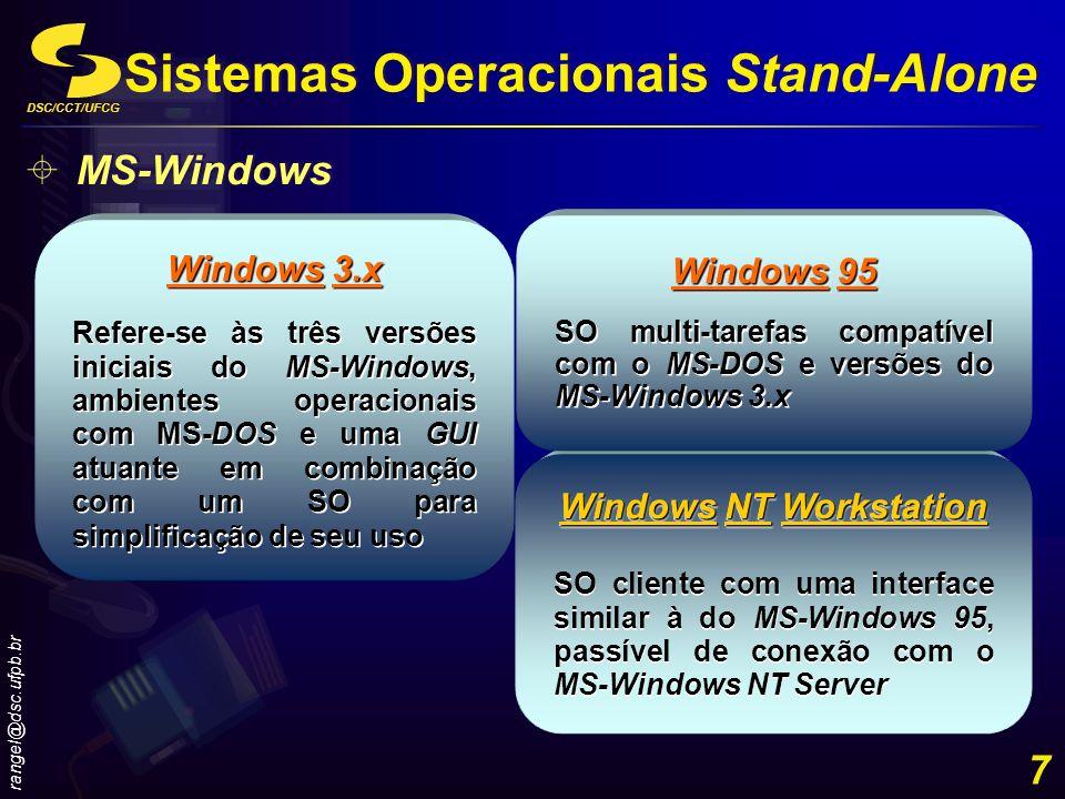 DSC/CCT/UFCG rangel@dsc.ufpb.br 7 Windows NT Workstation SO cliente com uma interface similar à do MS-Windows 95, passível de conexão com o MS-Windows