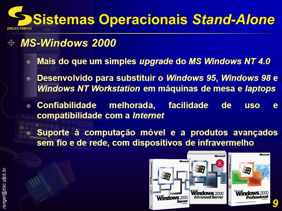 DSC/CCT/UFCG rangel@dsc.ufpb.br 9 MS-Windows 2000 Mais do que um simples upgrade do MS Windows NT 4.0 Desenvolvido para substituir o Windows 95, Windo