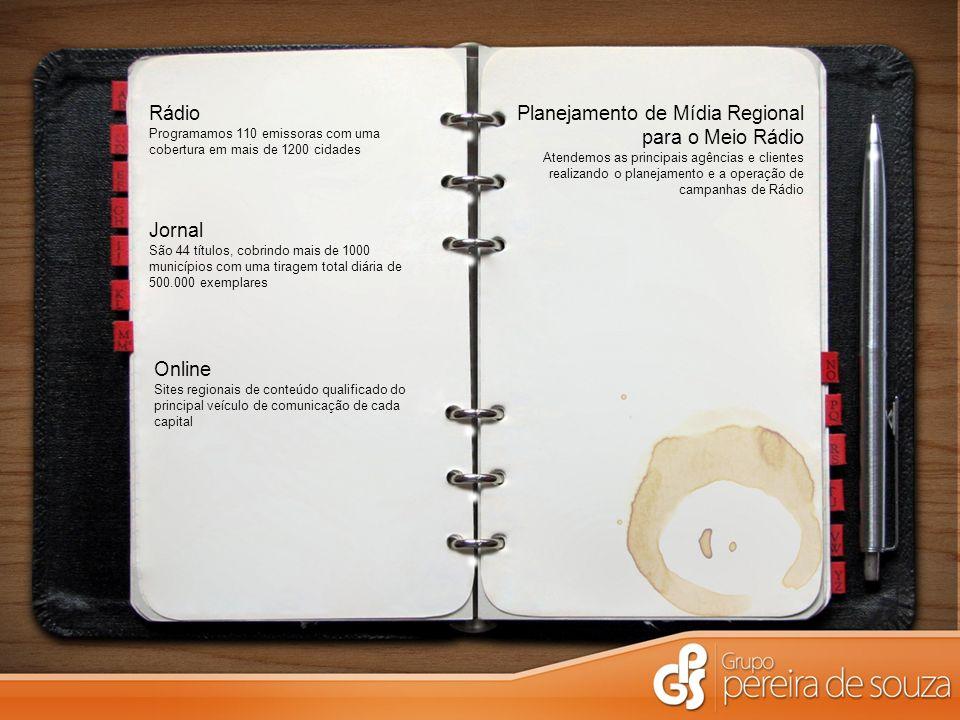 Jornal São 44 títulos, cobrindo mais de 1000 municípios com uma tiragem total diária de 500.000 exemplares Rádio Programamos 110 emissoras com uma cob