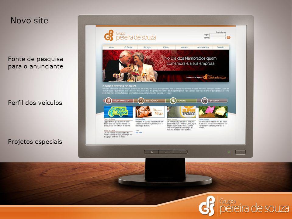 Novo site Fonte de pesquisa para o anunciante Perfil dos veículos Projetos especiais
