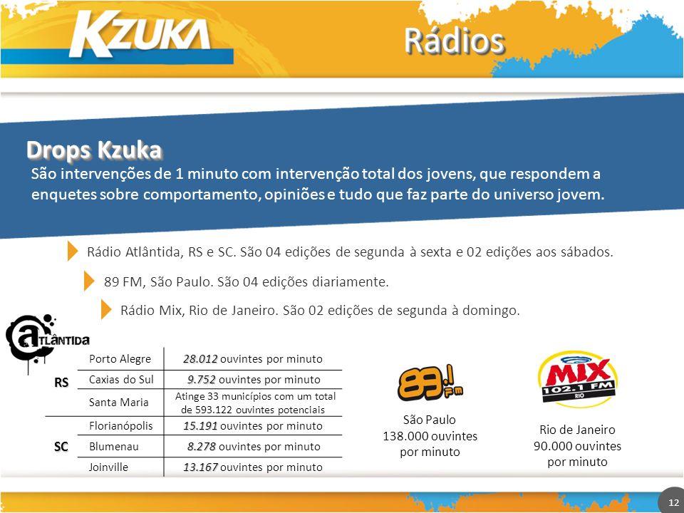 12 RádiosRádios São intervenções de 1 minuto com intervenção total dos jovens, que respondem a enquetes sobre comportamento, opiniões e tudo que faz p