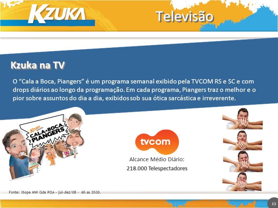 13 TelevisãoTelevisão O Cala a Boca, Piangers é um programa semanal exibido pela TVCOM RS e SC e com drops diários ao longo da programação. Em cada pr