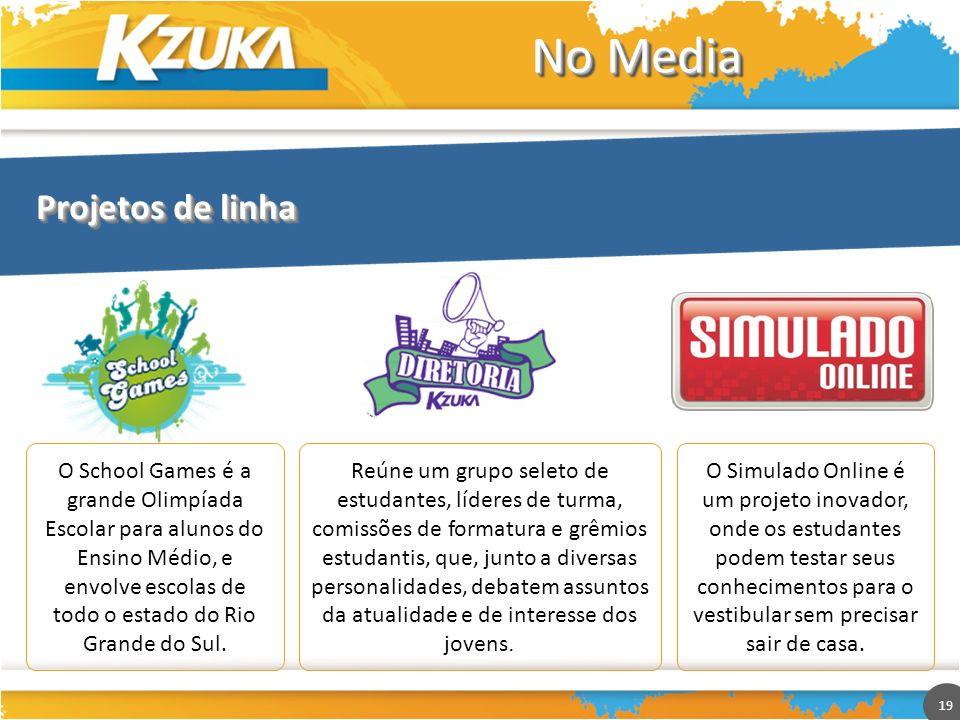 19 No Media Projetos de linha O School Games é a grande Olimpíada Escolar para alunos do Ensino Médio, e envolve escolas de todo o estado do Rio Grand