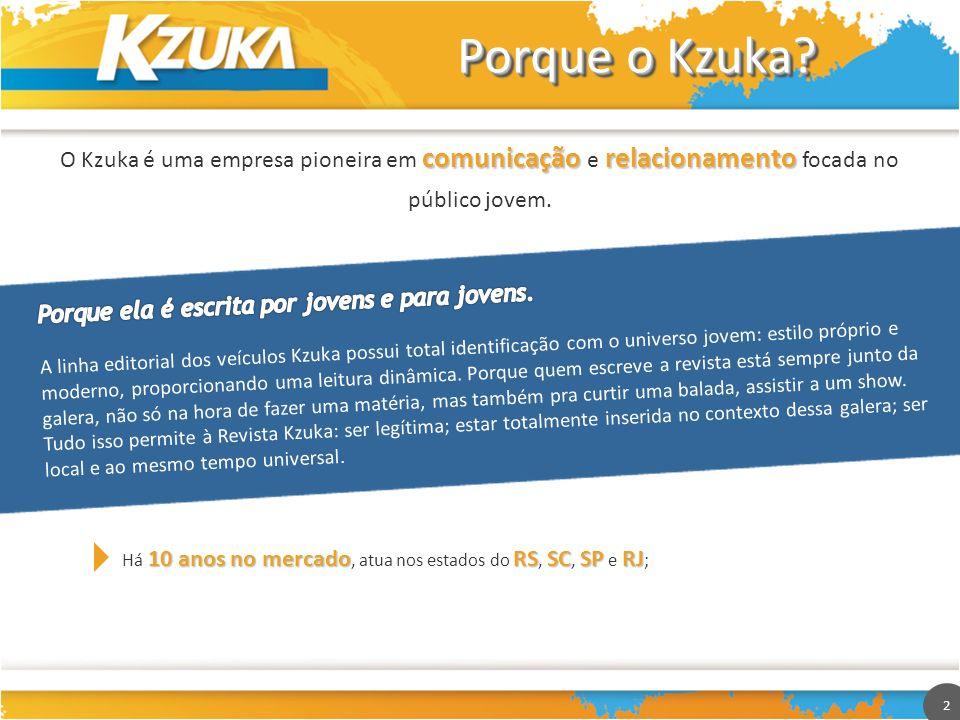 2 Porque o Kzuka? comunicação relacionamento O Kzuka é uma empresa pioneira em comunicação e relacionamento focada no público jovem. 10 anos no mercad