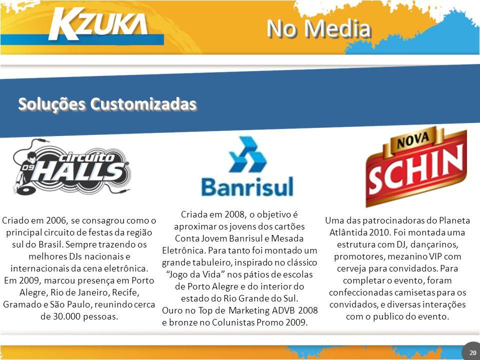 20 No Media Soluções Customizadas Criado em 2006, se consagrou como o principal circuito de festas da região sul do Brasil. Sempre trazendo os melhore