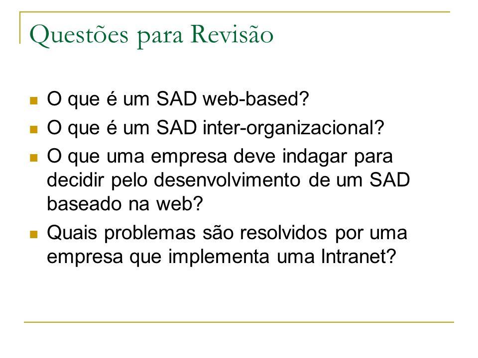 Questões para Revisão O que é um SAD web-based? O que é um SAD inter-organizacional? O que uma empresa deve indagar para decidir pelo desenvolvimento