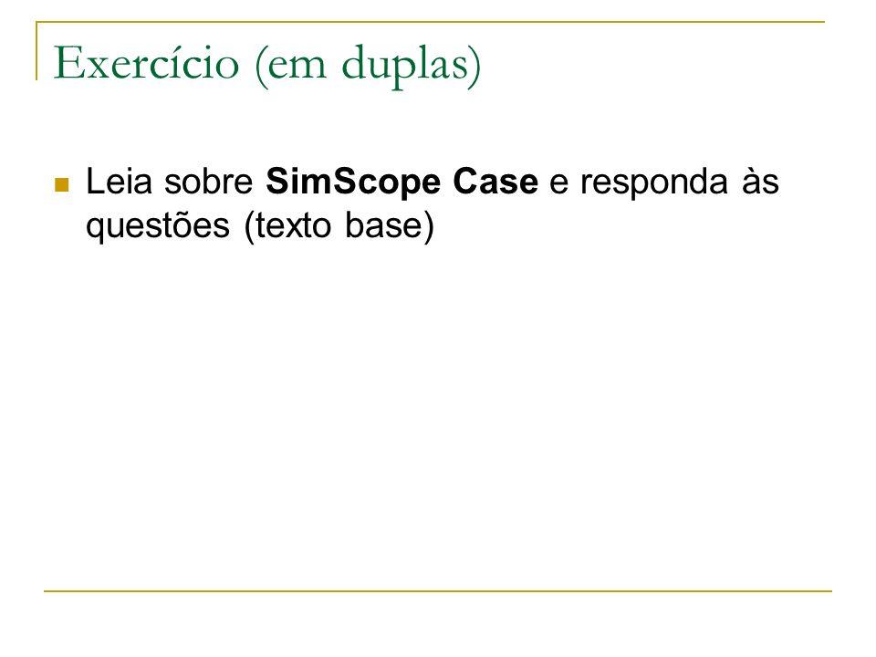 Exercício (em duplas) Leia sobre SimScope Case e responda às questões (texto base)