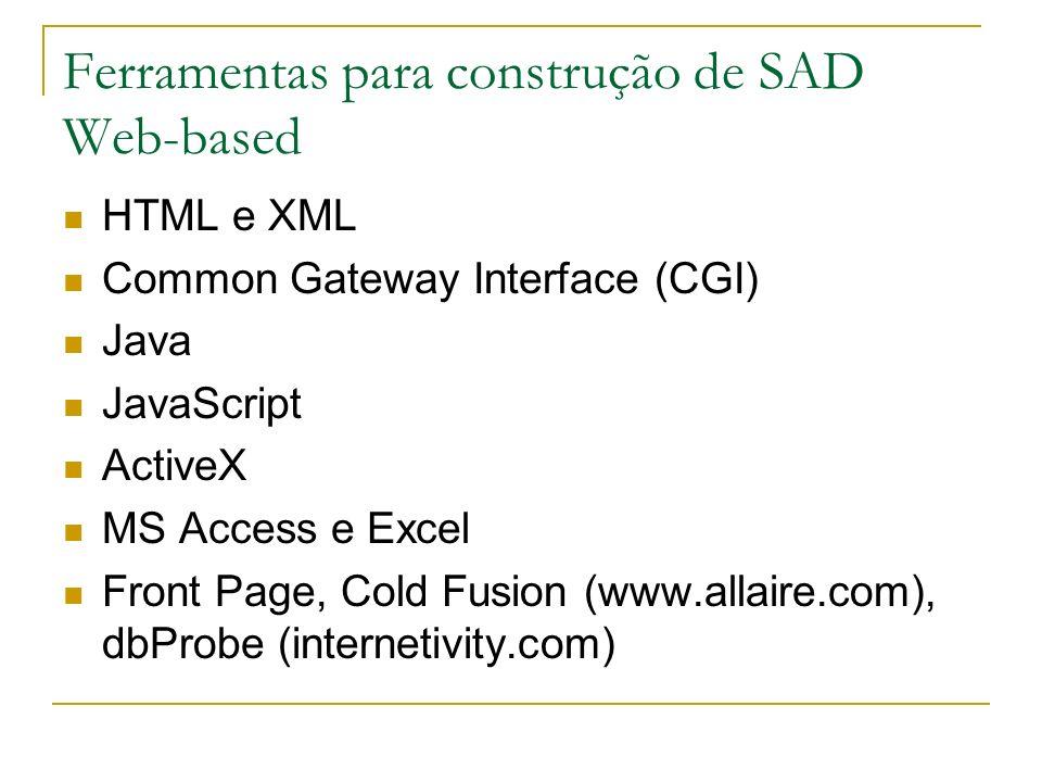 Ferramentas para construção de SAD Web-based HTML e XML Common Gateway Interface (CGI) Java JavaScript ActiveX MS Access e Excel Front Page, Cold Fusi