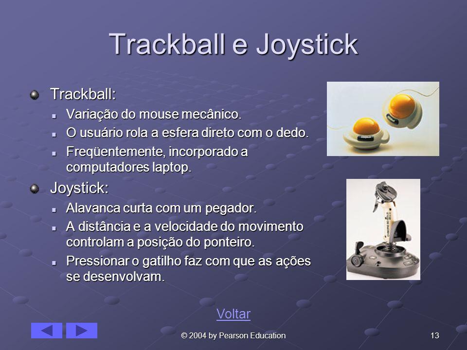 13© 2004 by Pearson Education Trackball e Joystick Trackball: Trackball: Variação do mouse mecânico. Variação do mouse mecânico. O usuário rola a esfe