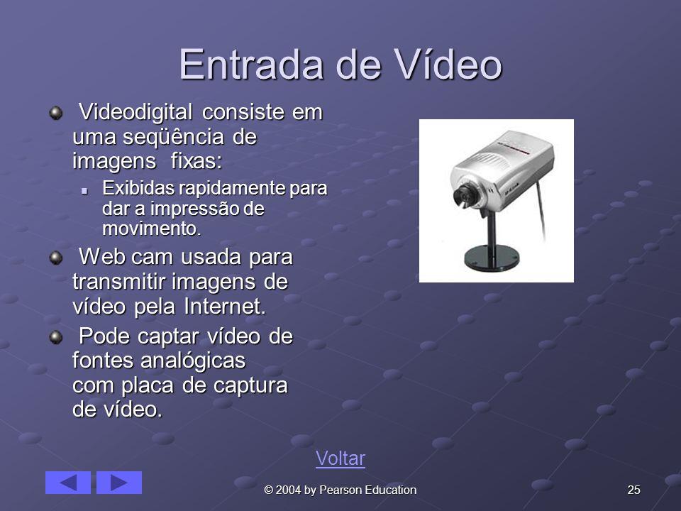 25© 2004 by Pearson Education Entrada de Vídeo Videodigital consiste em uma seqüência de imagens fixas: Videodigital consiste em uma seqüência de imag