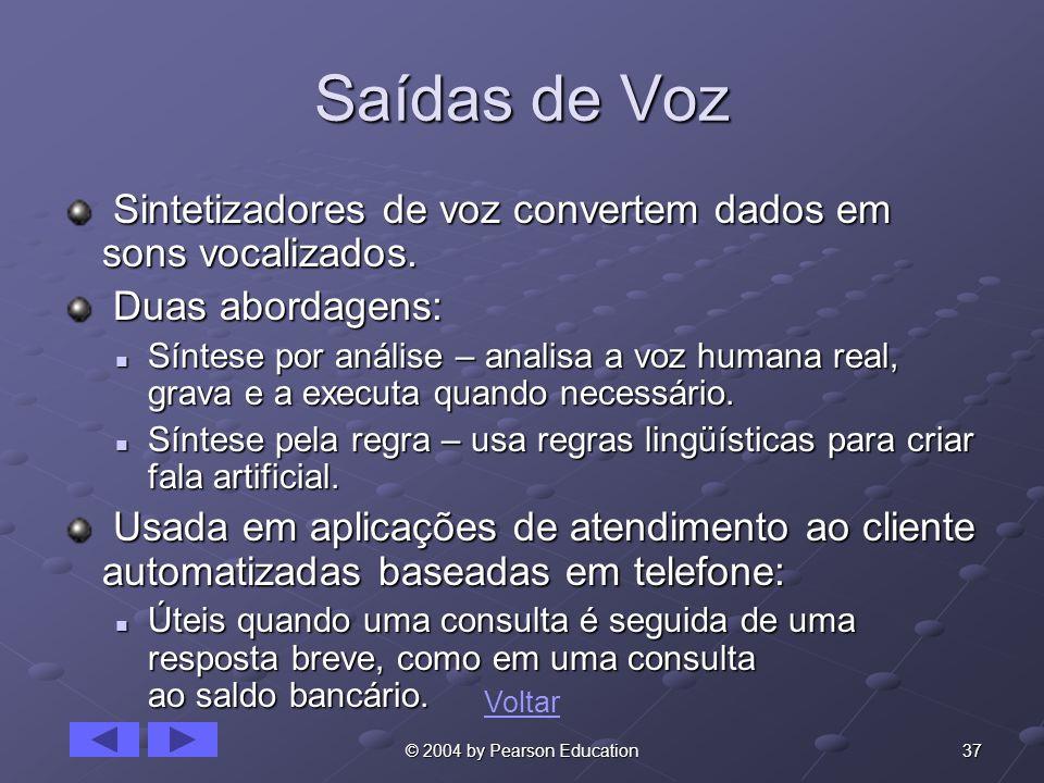 37© 2004 by Pearson Education Saídas de Voz Sintetizadores de voz convertem dados em sons vocalizados. Sintetizadores de voz convertem dados em sons v