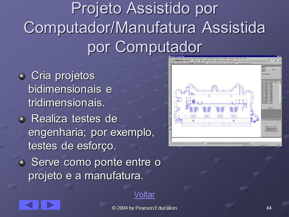 44© 2004 by Pearson Education Projeto Assistido por Computador/Manufatura Assistida por Computador Cria projetos bidimensionais e tridimensionais. Cri