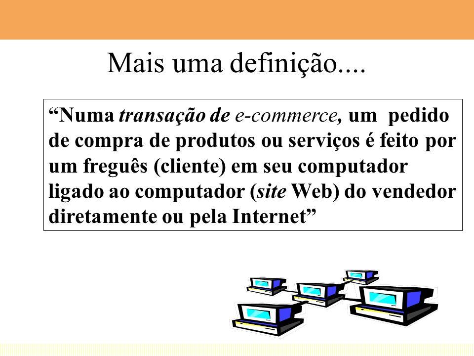 1. e-Business = Aplicações de Redes 2. Adotamos definição EUA para e-Business 3. e-commerce engloba e-marketing 4. Foco da apresentação em e-commerce