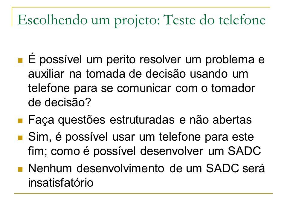 Escolhendo um projeto: Teste do telefone É possível um perito resolver um problema e auxiliar na tomada de decisão usando um telefone para se comunica