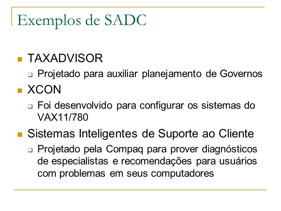 Exemplos de SADC TAXADVISOR Projetado para auxiliar planejamento de Governos XCON Foi desenvolvido para configurar os sistemas do VAX11/780 Sistemas I