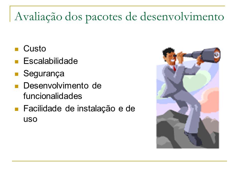 Avaliação dos pacotes de desenvolvimento Custo Escalabilidade Segurança Desenvolvimento de funcionalidades Facilidade de instalação e de uso