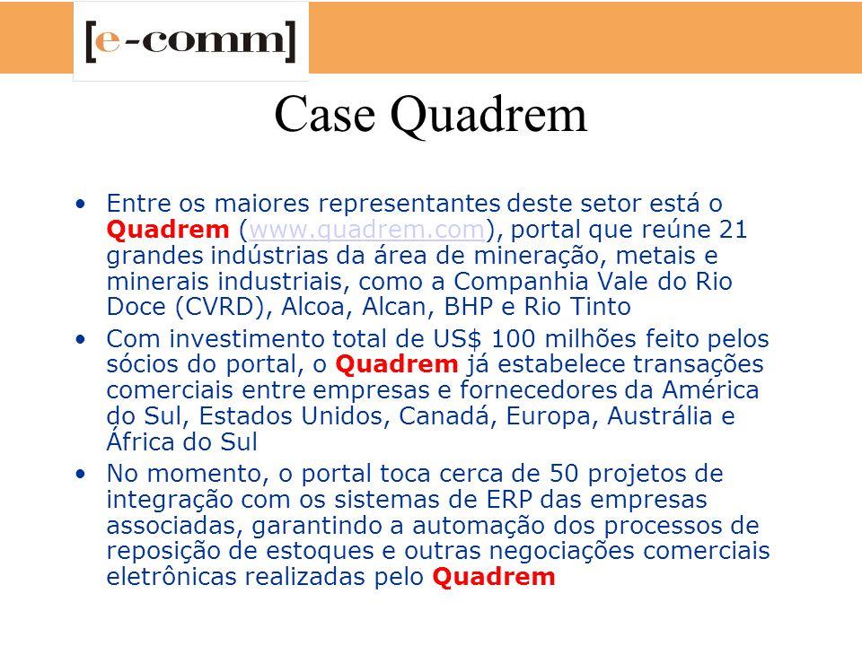 Case Quadrem Entre os maiores representantes deste setor está o Quadrem (www.quadrem.com), portal que reúne 21 grandes indústrias da área de mineração