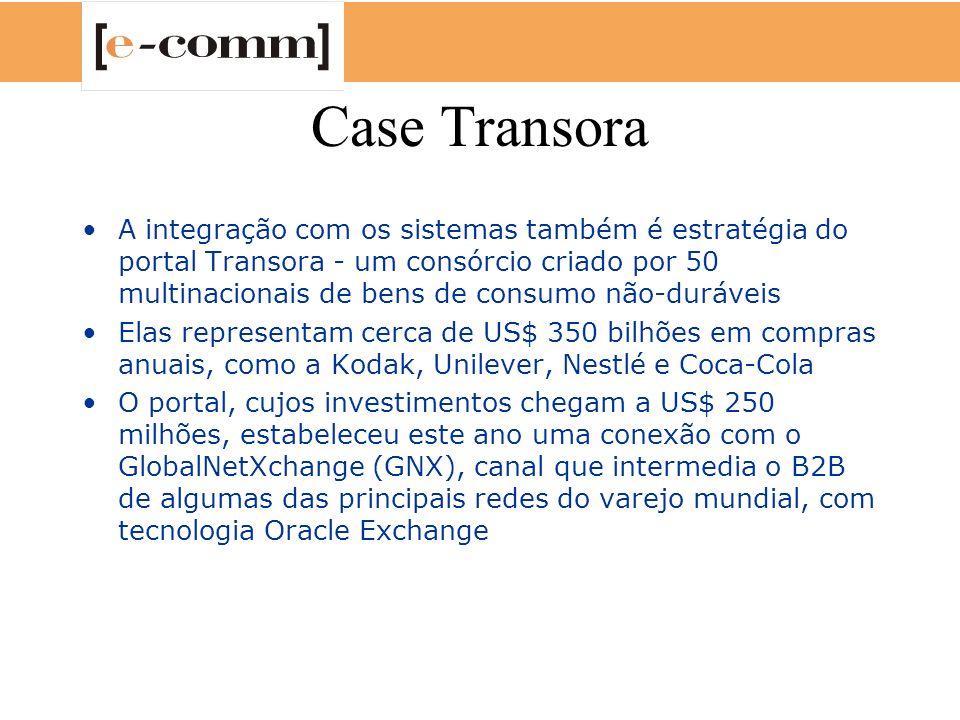 Case Transora A integração com os sistemas também é estratégia do portal Transora - um consórcio criado por 50 multinacionais de bens de consumo não-d