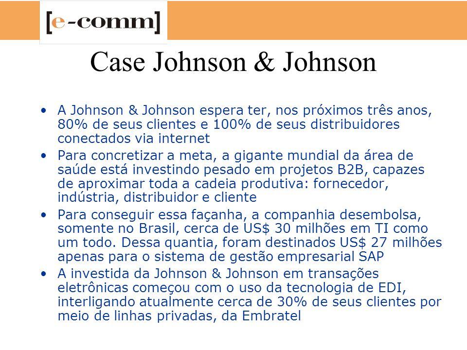 Case Johnson & Johnson A Johnson & Johnson espera ter, nos próximos três anos, 80% de seus clientes e 100% de seus distribuidores conectados via inter