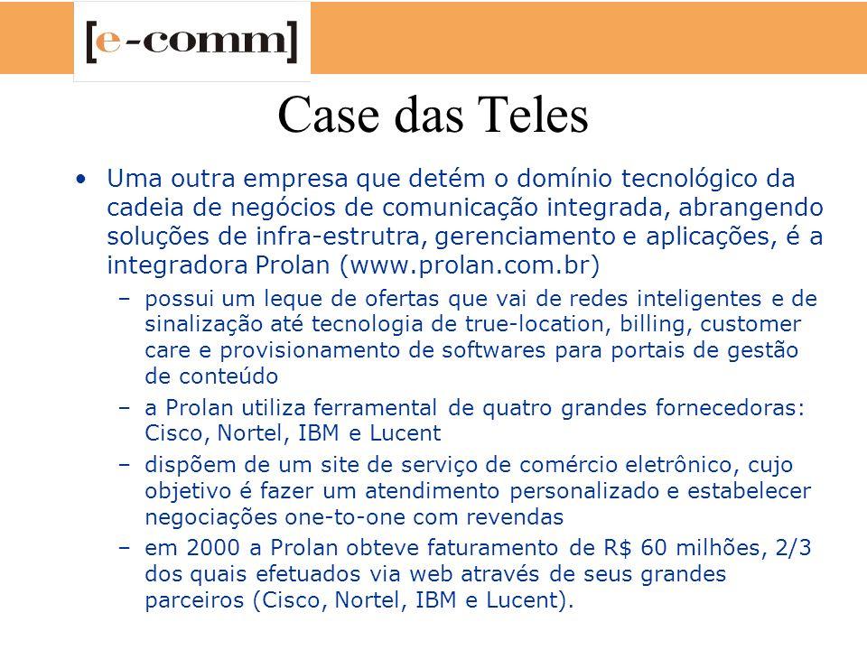 Case das Teles Uma outra empresa que detém o domínio tecnológico da cadeia de negócios de comunicação integrada, abrangendo soluções de infra-estrutra