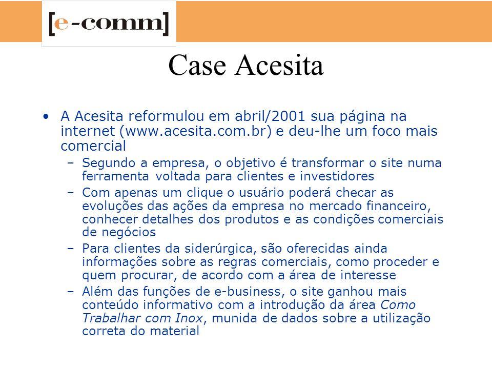 Case Acesita A Acesita reformulou em abril/2001 sua página na internet (www.acesita.com.br) e deu-lhe um foco mais comercial –Segundo a empresa, o obj