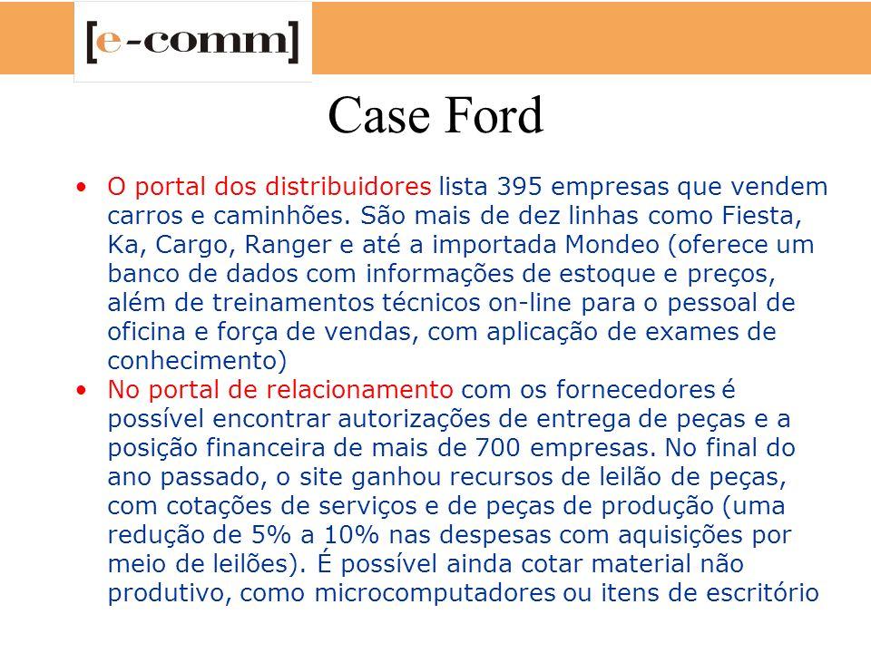 Case Ford O portal dos distribuidores lista 395 empresas que vendem carros e caminhões. São mais de dez linhas como Fiesta, Ka, Cargo, Ranger e até a