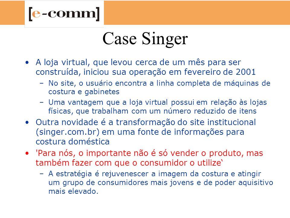 Case Singer A loja virtual, que levou cerca de um mês para ser construída, iniciou sua operação em fevereiro de 2001 –No site, o usuário encontra a li