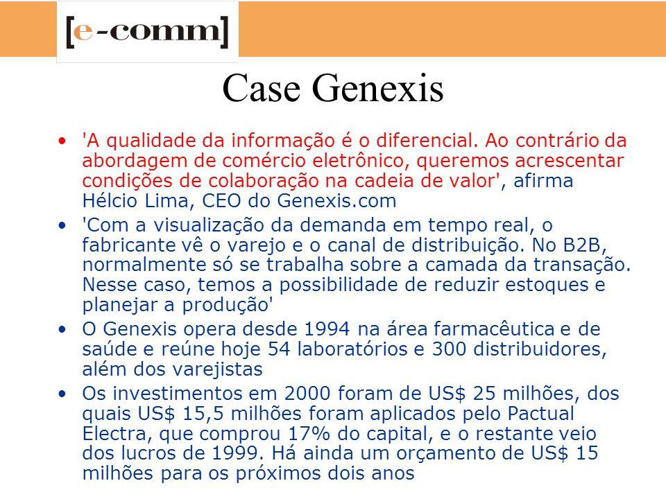 Case Genexis 'A qualidade da informação é o diferencial. Ao contrário da abordagem de comércio eletrônico, queremos acrescentar condições de colaboraç