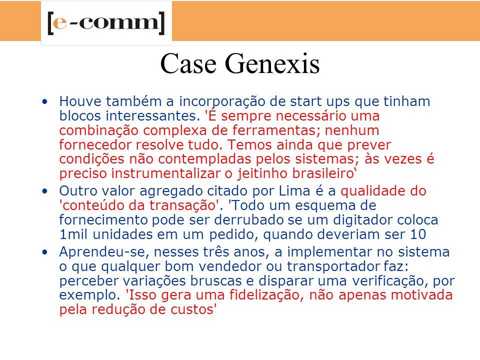 Case Genexis Houve também a incorporação de start ups que tinham blocos interessantes. 'É sempre necessário uma combinação complexa de ferramentas; ne