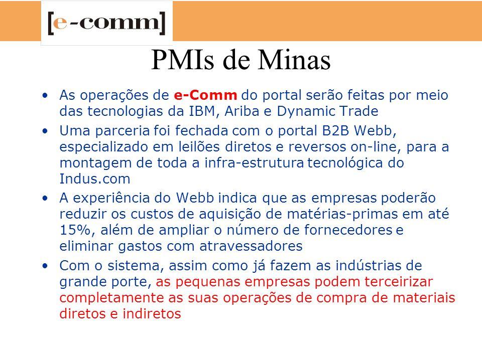 PMIs de Minas As operações de e-Comm do portal serão feitas por meio das tecnologias da IBM, Ariba e Dynamic Trade Uma parceria foi fechada com o port