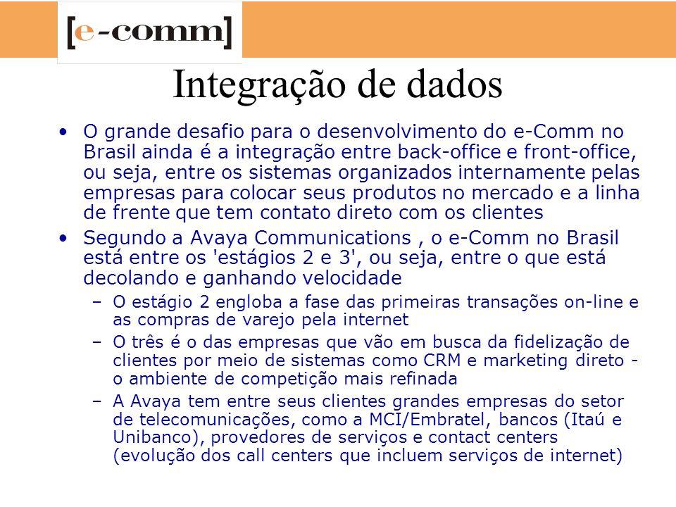 Integração de dados O grande desafio para o desenvolvimento do e-Comm no Brasil ainda é a integração entre back-office e front-office, ou seja, entre