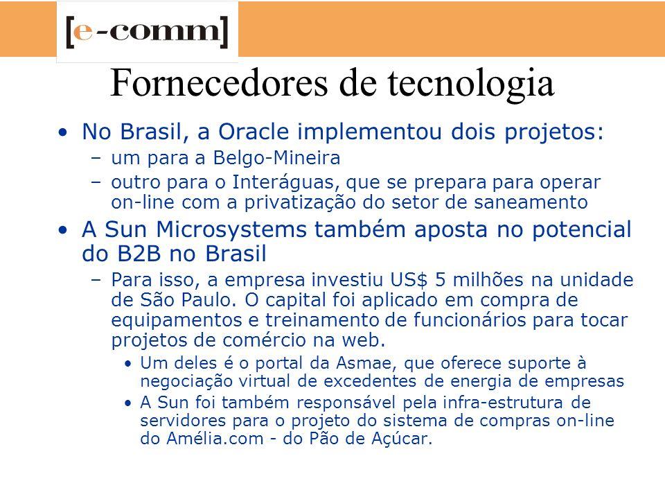 Fornecedores de tecnologia No Brasil, a Oracle implementou dois projetos: –um para a Belgo-Mineira –outro para o Interáguas, que se prepara para opera