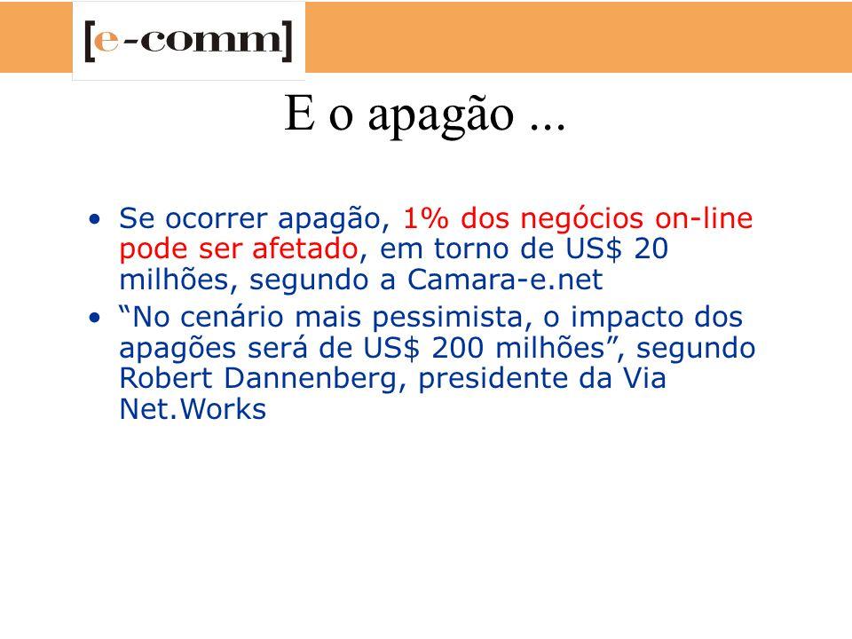 E o apagão... Se ocorrer apagão, 1% dos negócios on-line pode ser afetado, em torno de US$ 20 milhões, segundo a Camara-e.net No cenário mais pessimis