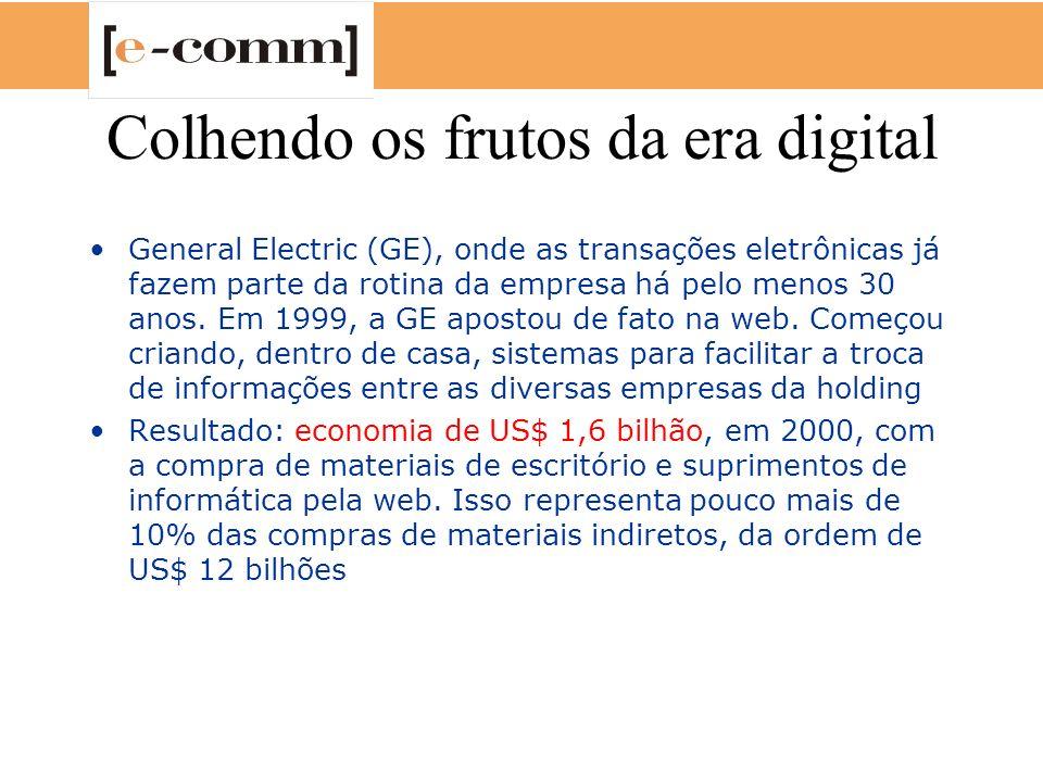 Colhendo os frutos da era digital General Electric (GE), onde as transações eletrônicas já fazem parte da rotina da empresa há pelo menos 30 anos. Em