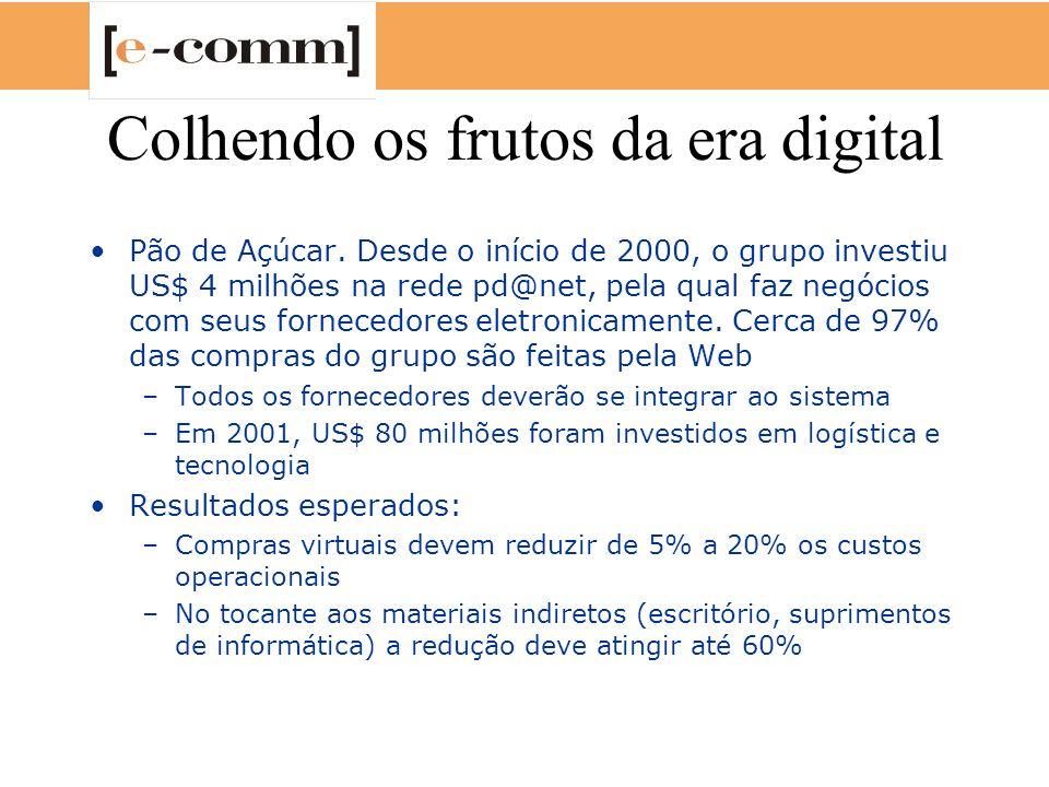 Integração de dados O grande desafio para o desenvolvimento do e-Comm no Brasil ainda é a integração entre back-office e front-office, ou seja, entre os sistemas organizados internamente pelas empresas para colocar seus produtos no mercado e a linha de frente que tem contato direto com os clientes Segundo a Avaya Communications, o e-Comm no Brasil está entre os estágios 2 e 3 , ou seja, entre o que está decolando e ganhando velocidade –O estágio 2 engloba a fase das primeiras transações on-line e as compras de varejo pela internet –O três é o das empresas que vão em busca da fidelização de clientes por meio de sistemas como CRM e marketing direto - o ambiente de competição mais refinada –A Avaya tem entre seus clientes grandes empresas do setor de telecomunicações, como a MCI/Embratel, bancos (Itaú e Unibanco), provedores de serviços e contact centers (evolução dos call centers que incluem serviços de internet)
