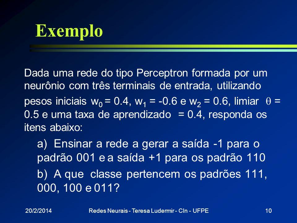 20/2/2014Redes Neurais - Teresa Ludermir - CIn - UFPE9 Algoritmo de teste 1) Apresentar padrão X a ser reconhecido 2) Calcular a saída y 3) Se (y=-1)