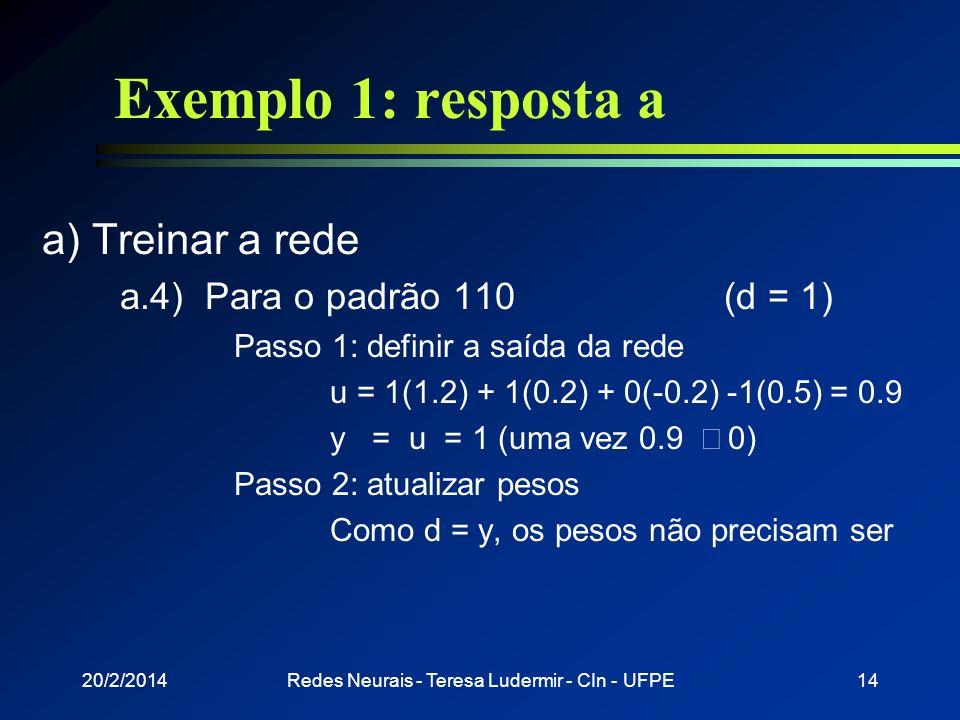 20/2/2014Redes Neurais - Teresa Ludermir - CIn - UFPE13 Exemplo 1: resposta a a) Treinar a rede a.3) Para o padrão 001(d = -1) Passo 1: definir a saíd
