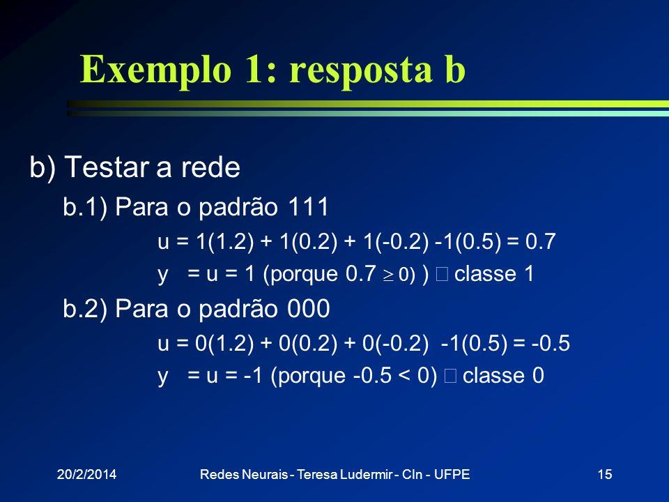 20/2/2014Redes Neurais - Teresa Ludermir - CIn - UFPE14 Exemplo 1: resposta a a) Treinar a rede a.4) Para o padrão 110 (d = 1) Passo 1: definir a saíd