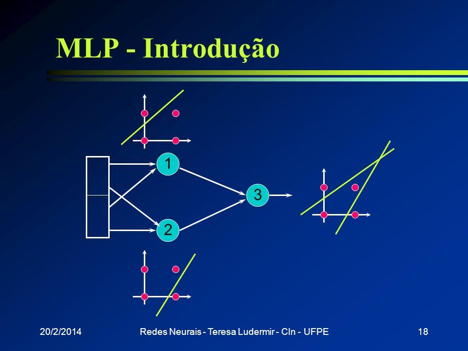 20/2/2014Redes Neurais - Teresa Ludermir - CIn - UFPE17 MLP - Introdução l Redes de uma camada resolvem apenas problemas linearmente separáveis l Solu