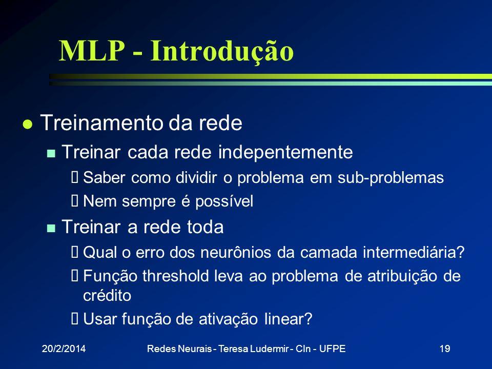 20/2/2014Redes Neurais - Teresa Ludermir - CIn - UFPE18 MLP - Introdução 1 3 2