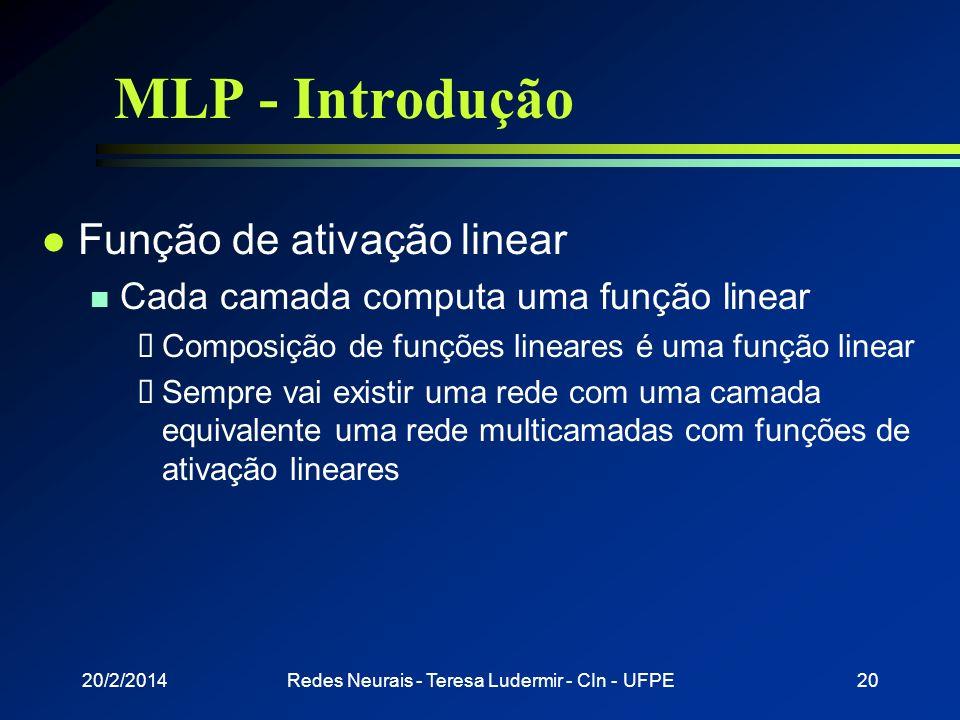 20/2/2014Redes Neurais - Teresa Ludermir - CIn - UFPE19 MLP - Introdução l Treinamento da rede n Treinar cada rede indepentemente Saber como dividir o