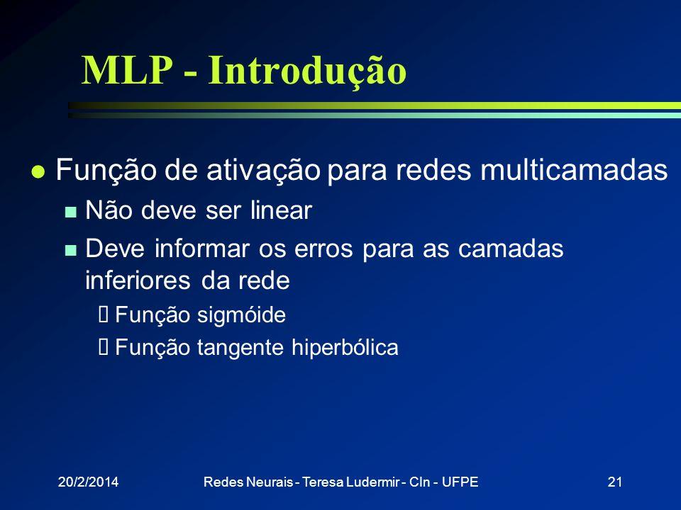 20/2/2014Redes Neurais - Teresa Ludermir - CIn - UFPE20 MLP - Introdução l Função de ativação linear n Cada camada computa uma função linear Composiçã