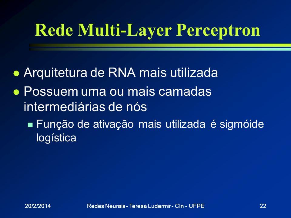 20/2/2014Redes Neurais - Teresa Ludermir - CIn - UFPE21 MLP - Introdução l Função de ativação para redes multicamadas n Não deve ser linear n Deve inf